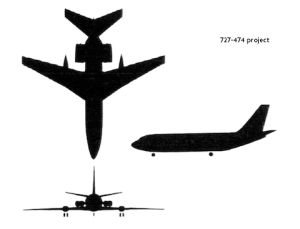 VC10 vision: Four aft-mounted engines, but no T-tail. Design project 272-474.