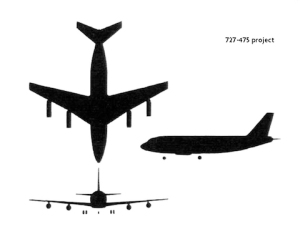 A true 'Baby Boeing': Four wing-mounted engines. Design project 727-475.