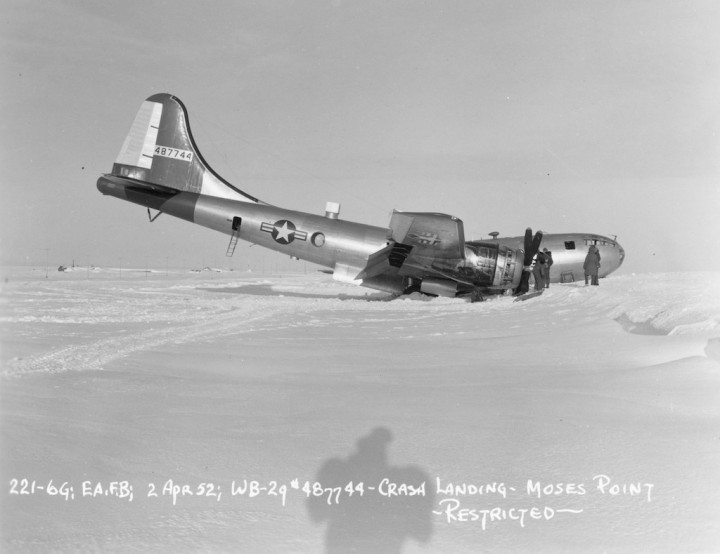 A less fortunate 58thWRS WB-29 from Eielson, crashed and broken at Moses Point, AK on April 2nd, 1952. (Air Weather Assn | USAF)