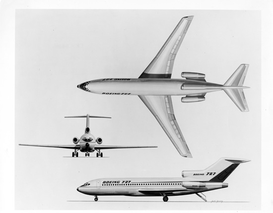 A true classic, however you look at it – Boeing's final design for the iconic 727 family. (SDASM 00062179)