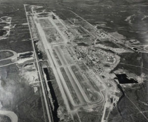 Eielson AFB as it appeared in 1950 (August 14th, to be precise). #214's gravel pit would be dug toward the top of this view, on about the axis of the parallel taxiway. (USAF, courtesy of Jack Waid)