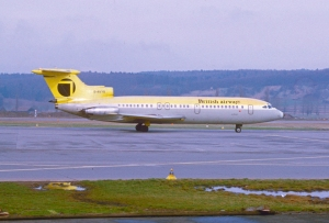 The smaller (originally, anyway), less successful, but very similar HS Trident. This is a 1E model, G-AVYB, at Zurich in the mid-70s. (Aero Icarus | flickr.com CC BY-SA 2.0)