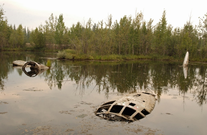 'Lady of the Lake' – the derelict and mystery-shrouded relic at Eielson AFB, southeast of Fairbanks, Alaska. (USAF photo, Staff Sgt. Joshua Strang) U.S. Air Force Photo by Staff Sgt Joshua Strang (Released)