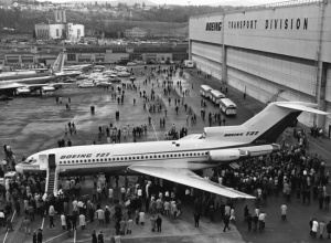 History in the making... N7001U rolls out of the Boeing plant at Renton, WA on February 5th, 1963. (SDASM 00062177)