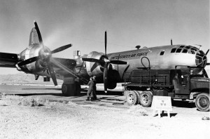 A 55th WRS WB-29 receives a radiation wash down at McClellan AFB, CA, on April 30th, 1952. Note the warning sign. This was SOP for Eielson ground crew when a ship came back 'hot'. (USAF)