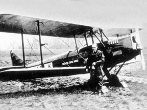 Bill Lancaster and the Southern Cross Minor; location unclear, but most likely at Lympne before his final flight. (Nat. Archive of Australia)
