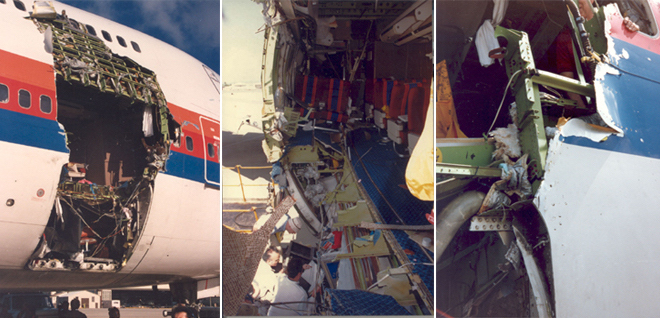 The damage to N4713U after the UAL 811 incident. (FAA)