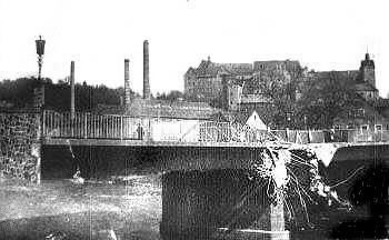 Colditz Bridge after it had been blown up and shot at by Volkssturm and WaffenSS soldiers. (69th-infantry-division.com)