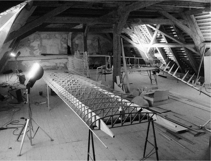 Work progresses on the replica glider's wings, in the lower attic of Colditz Castle. The PoWs had far less space – if a lot more time. (© Tony Hoskins)