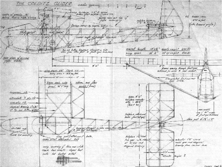 Annotated drawing for the Colditz Cock, from September 1944 – a remarkable piece of work in itself. (Colditz Castle)