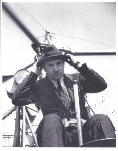 The inimitable Igor Ivanovich Sikorsky adjusts his trademark fedora before flying his VS300 helicopter test-bed, c1940. (© 2016 Igor I. Sikorsky Historical Archives, Inc.)