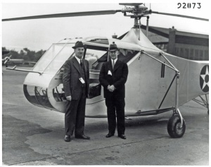 No doubt an amazing moment for both men – Igor Sikorsky and Orville Wright, with the XR-4 at Wright Field. (© 2016 Igor I. Sikorsky Historical Archives, Inc.)