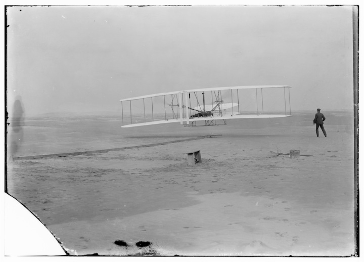 That first flight at Kitty Hawk. Photographer? Surfman John T Daniels. (Library of Congress)