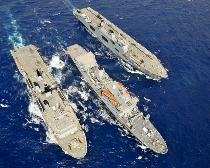 May 12th, 2011, and HMS Ocean (right) is replenished at sea by HMS Albion (left) with RFA Fort Rosalie (centre) off the coast of Cyprus. (Photo: LA(Phot) Guy Poole | Crown Copyright 2011)