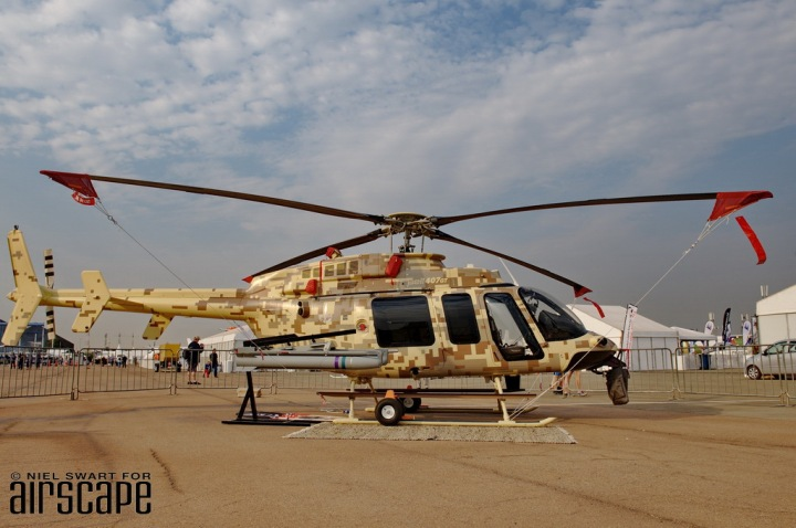 Bell Canada's well-travelled N407GT appeared at AAD2016 at the start of its latest deployment – combatting rhino poachers for BBM/Rhino 911 in cooperation with Heli Africa Wildlife. (© Niel Swart)