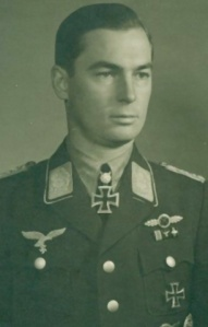 Wartime propaganda picture of Hubertus Hitschhold, later General der Schlachtfleiger. A noted Stuka pilot, his score included no fewer than three Royal Navy destroyers! (wikipedia)