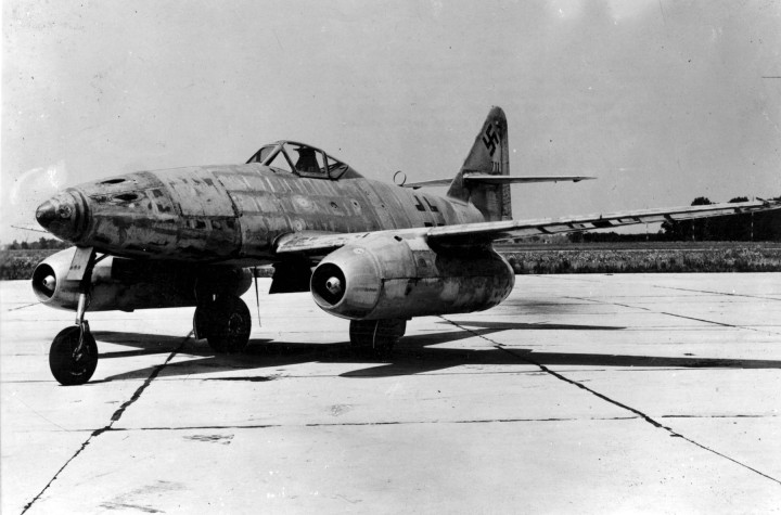The future – not just of the Luftwaffe fighter force, but of all air combat: The revolutionary Messerschmitt Me.262 jet interceptor. (USAAF Photo)
