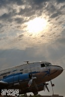 SAA Museum Society's beautifully preserved and flying DC-3 'Klapperkop'. Built in 1943 as a C-47A-1-DK (cn 12107) it passed through the USAAF as 42-92320, the RAF as FZ572 and the SAAF as 6821 before conversion to DC-3 for SAA in 1948. (© Niel Swart)
