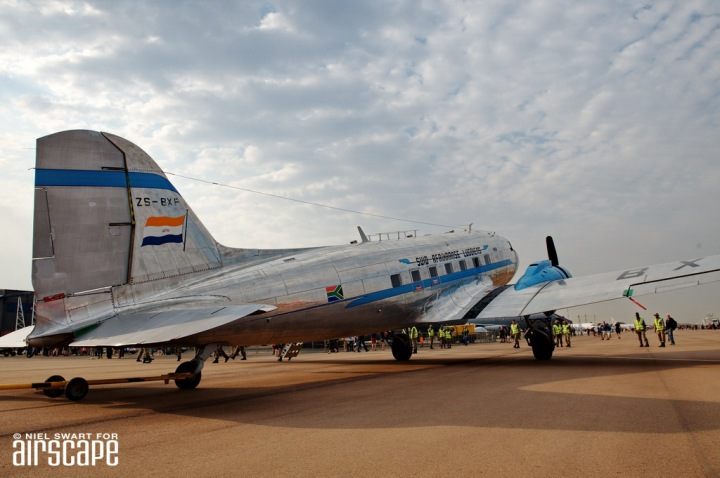 A classic angle on a classic aircraft – the tail-feathers of the South African Airways Museum Society's DC-3 'Klapperkop' , serial ZS-BXF. (© Niel Swart)