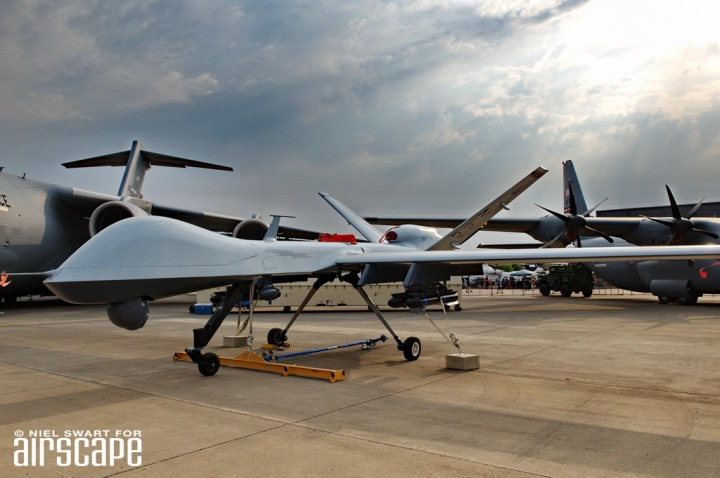 Where's the pilot? (Anywhere you like.) A USAF MQ-9 Reaper sits (autonomously) in the static display area. (© Niel Swart)