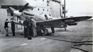 Not positively, but likely Mk.VB BL676, the very first Spitfire to land on a carrier when she alighted aboard HMS Illustrious in the River Clyde on January 10th, 1942. (SDASM #15-002637)