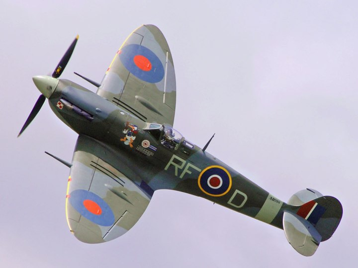 RAF BBMF''s Spitfire Mk.Vb AB910 painted in the colours of Jan Zumbach, 303rd (Polish) Squadron, to commemorate the almost 20,000 Poles who flew in exile against Nazism. (Ian Forshaw | Crown copyright 2010)