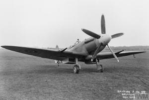 Spitfire F Mark XIVE, RB151, of No.610 Squadron RAF shows off the five-bladed, broad-chord Rotol propeller needed to harness the power of its Griffon engine. (© IWM ATP 12462B)