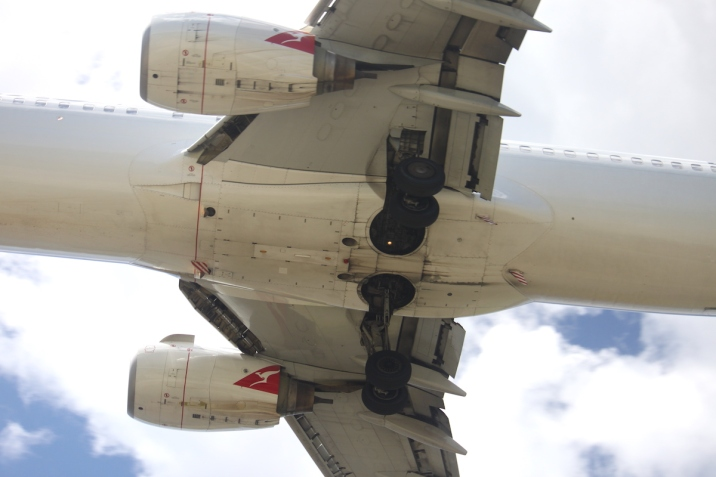 Showing all the signs of everyday operation, the belly of a Qantas B737-800 on very short final into YPAD, snapped from my favourite planespotting perch. (© airscape photo)